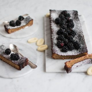 Almond cake with white chocolate and liquorice