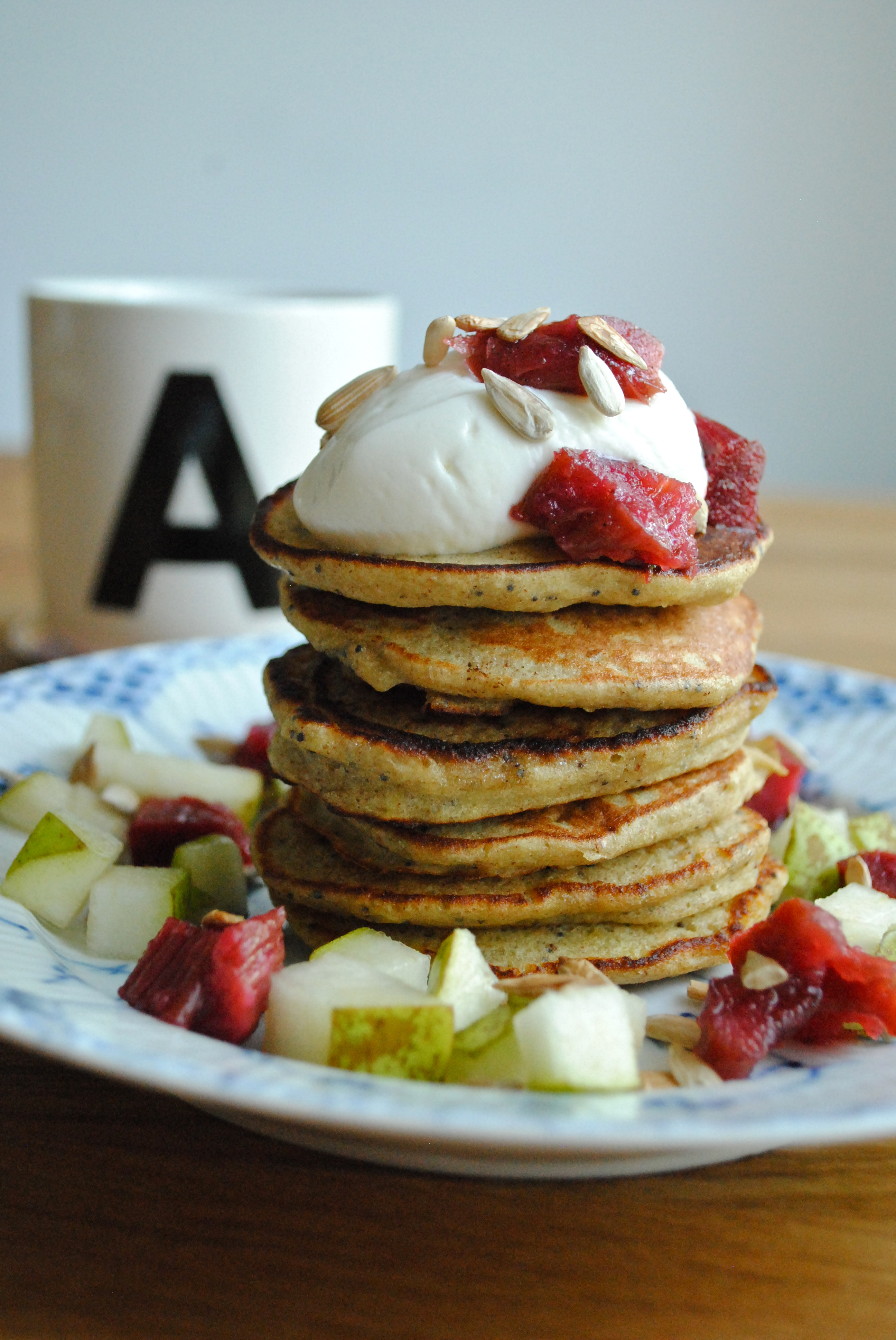 Gluten-free banana pancakes with rhubarb compote