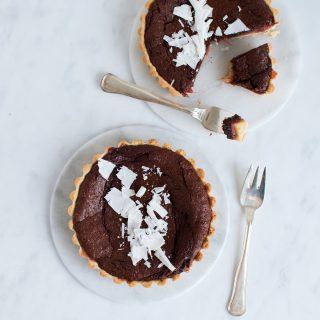 Søndagstærter med chokolade og rabarber