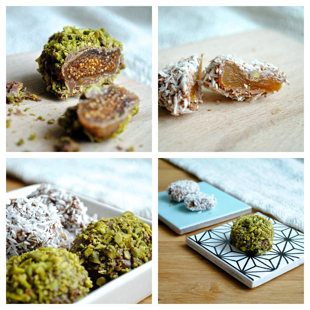 Figner og abrikoser dyppet i mælkechokolade, pistacier og kokos