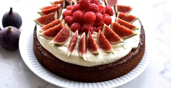 Fig cake with marzipan, raspberries and vanilla whipped cream