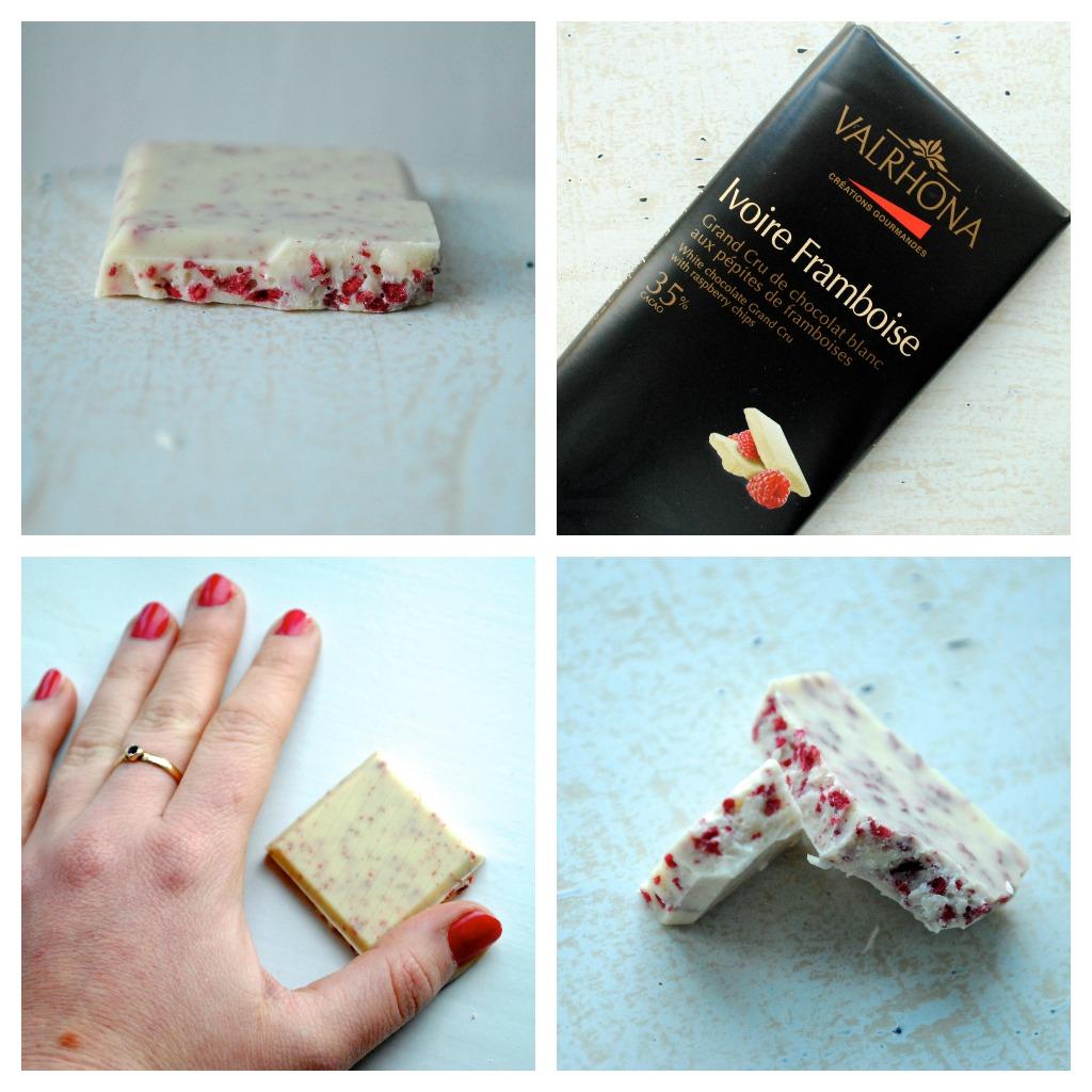 Ivoire Framboise 35% – Valrhonas hvide chokolade med hindbærstykker