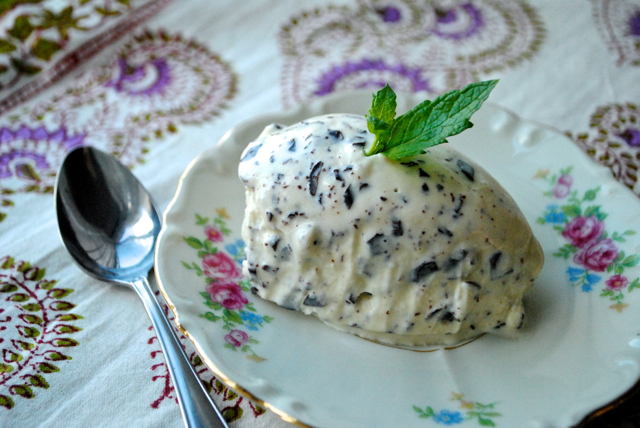 Mint ice cream with chocolate chunks