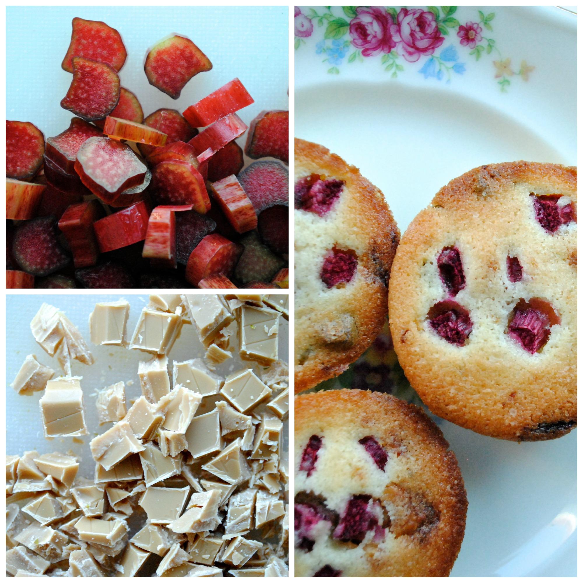 Små kager med Dulcey, pistacier og rabarber